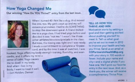 Kaiser Permanente Thrive article by Lori Holden
